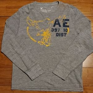American Eagle Men's Large Gray Long Sleeve Shirt